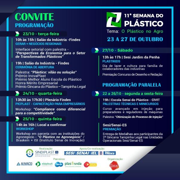 Programação da 11ª Semana do Plástico